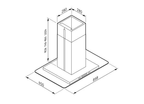 Απορροφητήρας Cielo Οροφής 065018501 Pyramis 90x60cm Χρώμα Inox Και Γυαλί Ασφαλείας