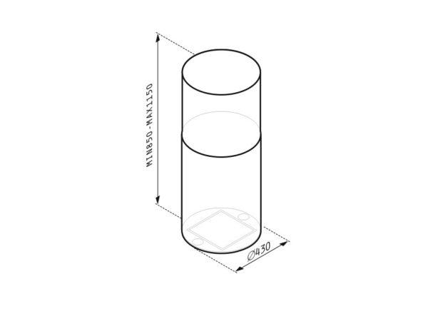 Απορροφητήρας Cilindrico Οροφής 065018601 Pyramis 43cm Χρώμα Inox