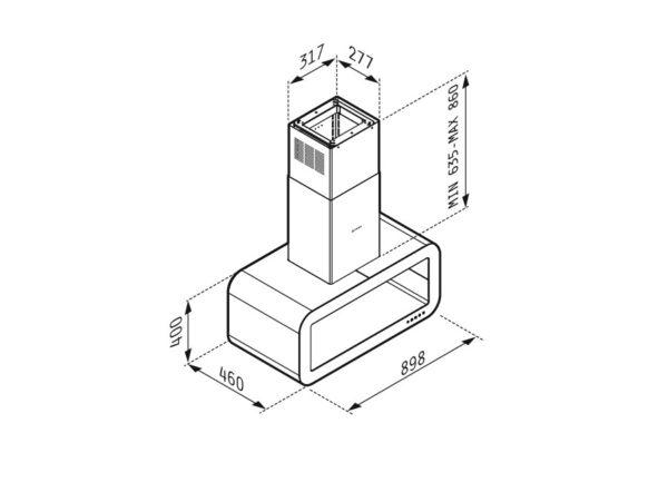 Απορροφητήρας Corso Οροφής 065021701 Pyramis 90cm Χρώμα Inox Και Μαύρο Γυαλί
