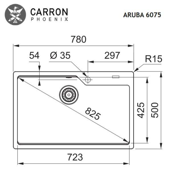 Νεροχύτης Carron Aruba 6075 Granite (78X50) 1B