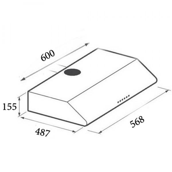 Απορροφητήρας Απλός Maidtec by Pyramis 065021901 Με Δύο Μοτέρ Και Μεταλλικά Φίλτρα 60cm Χρώμα Λευκό
