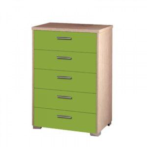 Συρταριέρα Παιδική 60x45x90cm Με 5 Συρτάρια Δρυς-Λαχανί