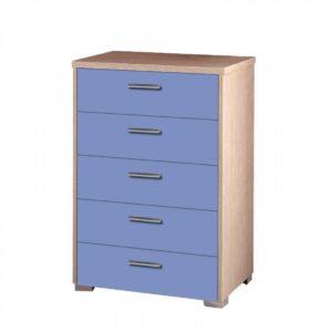 Συρταριέρα Παιδική 60x45x90cm Με 5 Συρτάρια Δρυς-Μπλε