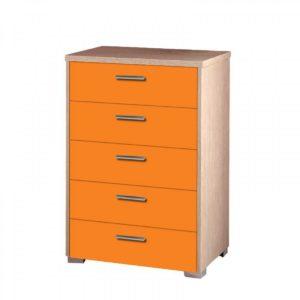 Συρταριέρα Παιδική 60x45x90cm Με 5 Συρτάρια Δρυς-Πορτοκαλί