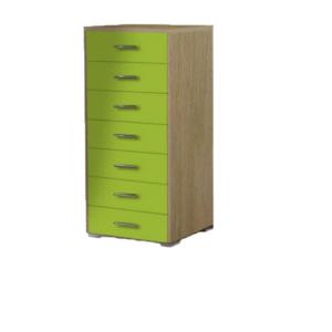 Συρταριέρα Παιδική 60x45x123cm Με 7 Συρτάρια Δρυς-Λαχανί