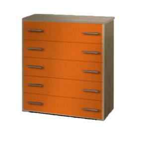 Συρταριέρα Παιδική 80x45x90cm Με 5 Συρτάρια Δρυς-Πορτοκαλί
