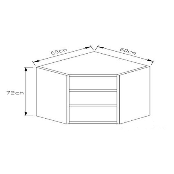 Κουτί Κουζίνας Κρεμαστό Γωνιακό Φάλτσο 72x60x60cm
