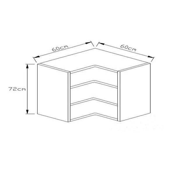 Κουτί Κουζίνας Κρεμαστό Γωνιακό 72x60x60cm