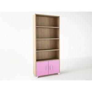 Παιδική Βιβλιοθήκη 75x30x180cm Δρυς-Ροζ