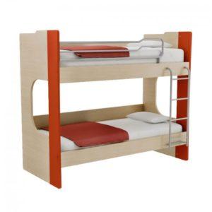 Παιδική Κουκέτα Alfa Set Mavin Με Δύο Κρεβάτια Για Στρώμα 90x200 Δρυς Φυσικό-Κόκκινο
