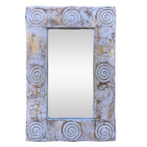 Καθρέπτης Ξύλινος Xειροποίητος, 40X60 εκ, Χρώμα Λευκό Αντικέ με Χρυσό . AB-AB043